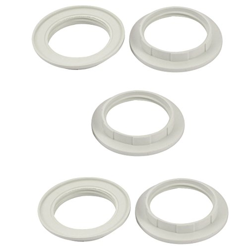sourcingmap 5pcs Screw Bulbs Lamp Holder Twist and Lock E27 Socket Replacement Ring White