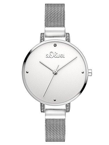s.Oliver Damen Analog Quarz Armbanduhr mit Edelstahl Armband SO-3551-MQ