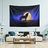 N/ A Tapiz para colgar en la pared, decoración de la habitación – Lobo aullando luna llena oscuro grande tapiz de pared para recámara, tapices de pared, decoración de salón, 152 x 127 cm