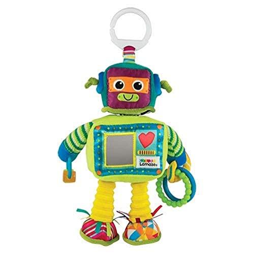 TOMY Lamaze - Peluche Jouet d'Activités Rusty Le Robot L27089, Peluche Bébé à Clip pour Berceau ou Poussette, Jouet Multi-Activités avec Miroir d'Eveil Bébé, Convient à la Naissance, Multicolore
