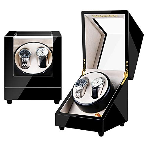 Zyy Doble Cajas Giratorias for Relojes Automatico Rotación Reloj Caja De Almacenaje con Motor Silencioso 4 Modos, Cajas De Reloj con Luz Ambiental (Color : A)