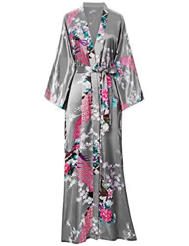BABEYOND Damen Morgenmantel Maxi Lang Seide Satin Kimono Kleid Pfau Muster Kimono Bademantel Damen Lange Robe Schlafmantel Girl Pajama Party 135cm Lang (Silber Grau)