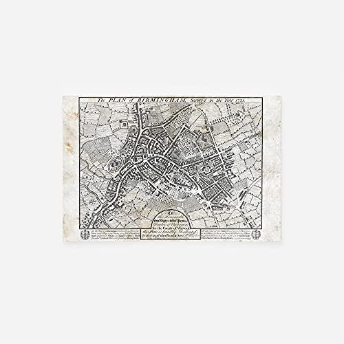 // TPCK // Vintage Karte von Birmingham (England) aus 1731 Fotodruck Poster Geschenk Old Alcient Historic – A-Größen A3 (29.7 x 42.0cm)