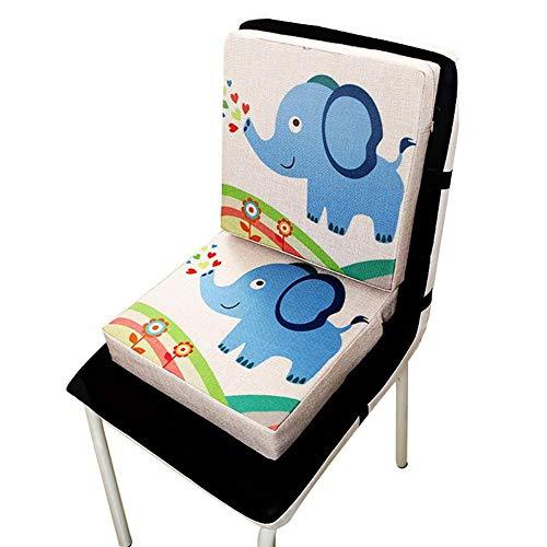 Wateralone Boostersitz Esszimmer Stuhl Sitzerhöhung Kinder Kindersitze, niedlichen Animal Print Flachs, demontierbar einstellbar, ideal als Hochstuhl für unterwegs für Babys & Kleinkinder (Elefant)
