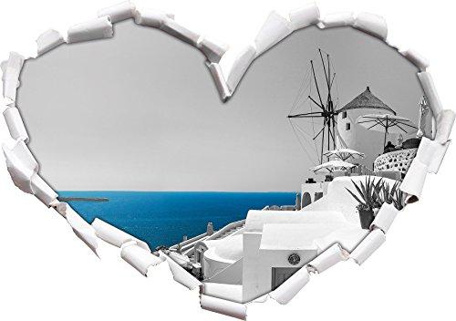 Stil.Zeit Club Kalimera Kriti in Kreta schwarz/weiß Herzform im 3D-Look, Wand- oder Türaufkleber Format: 62x43.5cm, Wandsticker, Wandtattoo, Wanddekoration