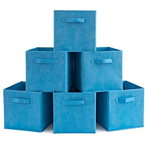 EZOWare Caja de Almacenaje con 6 pcs, Set de 6 Cajas de Juguetes, Caja de Tela para Almacenaje, Azul Niagara