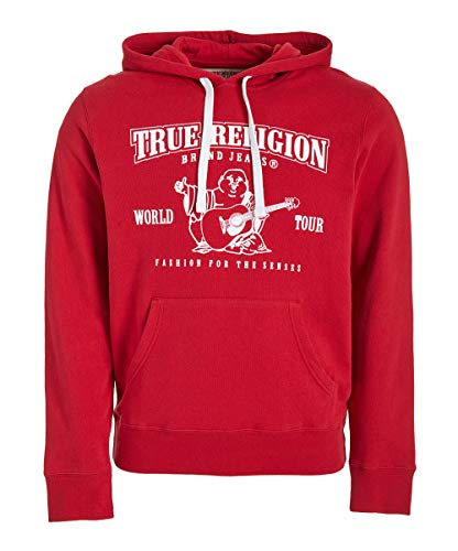 True Religion Men's Buddha Logo Pullover Hoodie Sweatshirt (Medium, Ruby Red)