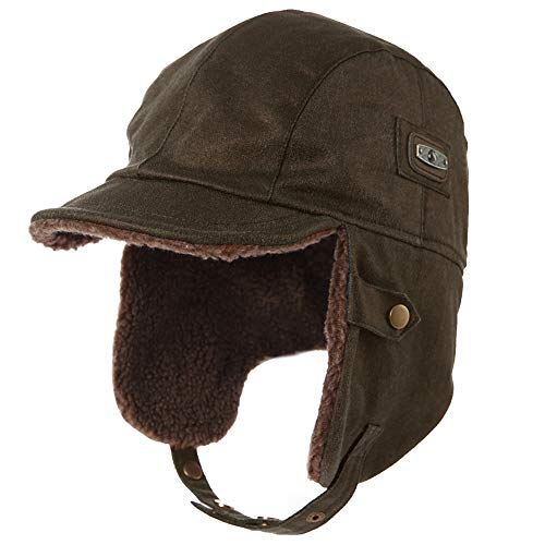 Fancet Mens Aviator Hat Winter Trapper Bomber Faux Fur Leather Pilot Cap for Large Head 24 Inch Women Earflaps Brown