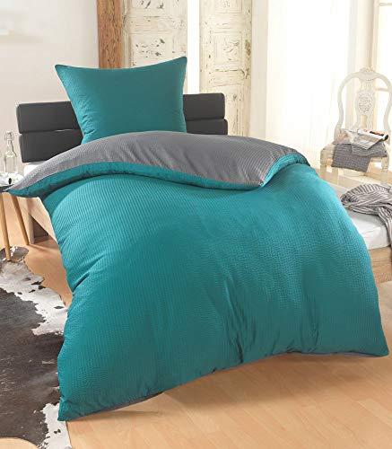 BFW Dreamhome 2-4teilig Dreamhome Uni fein Seersucker Wende Bettwäsche Bettbezug für Bettdecke Kissenbezug 80x80, Farbe:GRAU-Petrol, Größe:155 x 220 cm