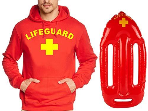 Coole-Fun-T-Shirts Lifeguard Schwimmboje Kostüm Rettungsschwimmer 2 teilig Set Hoodie ROT Gr.XL