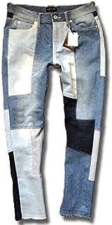 [slow&easy] パッチワーク 切替 デニム ビンテージ風 パッチワークデニム ジーンズ デニムパンツ 切り替え アンクルパンツ 9部丈 裾切りっぱなし カットオフ メンズ