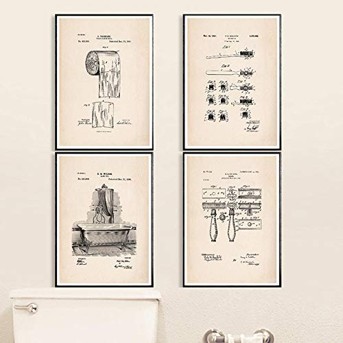 Non-branded badkamer patent vintage poster en print toiletpapierrol tandenborstel scheermes badkuip muurkunst canvas schilderij badkamer decoratie 40x50cmx4 geen lijst