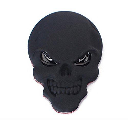 Schwarzer 3D-Aufkleber aus Metall mit Totenkopf-Motiv von Winomo