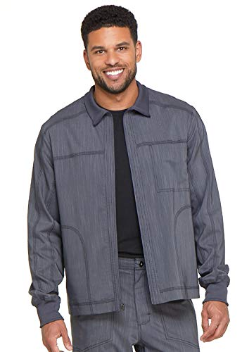 Dickies Men's Zip Front Moto Scrub Jacket, 2XL, Pewter Twist