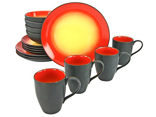 Creatable, 20200, Serie HOT RED, Geschirrset 16 teilig Kombiservice, Stein, Mehrfarbig, 35 x 34 x 35 cm, Einheiten