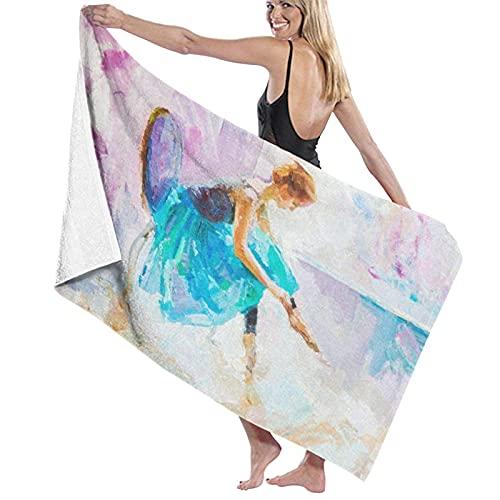 ASDTF Large Soft Microfiber Toalla de baño Manta,Oil Painting, Girl Ballerina. Drawn Cute Ballerina Dancing,Bath Toalla de Playa for Family Hotel Travel Swimming Sports,52' x 32'
