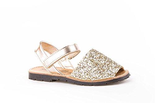 Angelitos mod203 - Sandali di Minorca in glitter, integralmente in pelle, calzature per bambine rosa Size: 33
