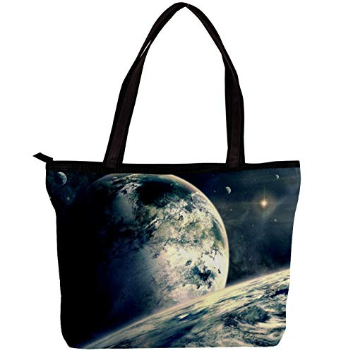 Laptop Bag for Women Moon Planet Large Office Handbags Briefcase Fits Up to 15.6 inch Laptop 11.8x4.1x15.4in