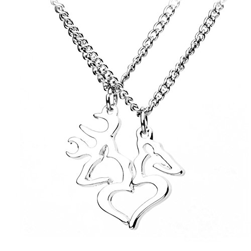 JiangYan-US Heart-Shaped Elk Split Deer Couple Engraved Lover Pendant Necklace