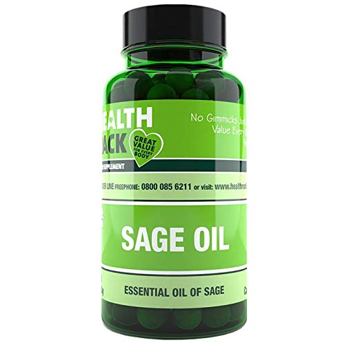 Sage Oil 50mg | 60 Capsules | Popular Food Supplement for Menopause Relief | Works for hot flushes and Night Sweats