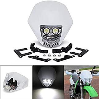 JFG RACING Dual 5W LED Bulbs 12V Universal Modified Headlight Head Lamp For Motorcycle Dirt Pit Bike - White
