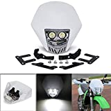 JFG RACING Dual 5W LED Bulbs 12V Universal Modified Headlight Head Lamp For Motorcycle Dirt Pit Bike - White