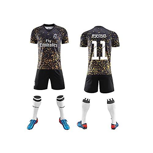 GAOjie Camisetas de fútbol para hombre, camiseta + pantalones cortos + calcetines, camiseta con estampado Rěǎī-Mǎdrid ropa de entrenamiento, uniforme de fútbol para niños y adultos Niños / 1