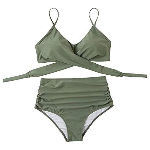 Traje de baño de cintura alta, dos piezas de ganchillo, conjunto de bikini push up para mujer, conjunto de bikini envolvente, llamativo, hacer un aspecto atractivo e impresionante., Ejercito Verde, S