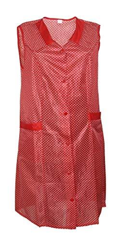 Kittel Schürze Kittelschürze Dederon Nylon blau o. rot, Größe:46, Farbe:rot mit weißen Punkten