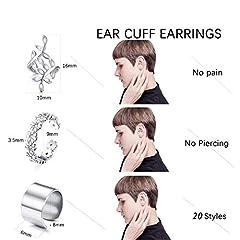 Milacolato 20Pcs Adjustable Ear Cuffs Earrings Set for Women Stainless Steel Non-Piercing Cartilage Clip On Wrap Earring Set #1