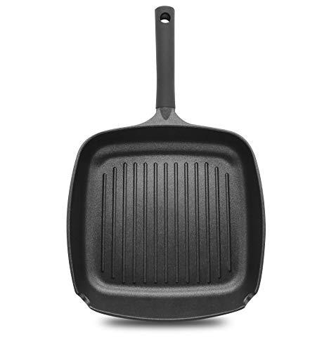 La Moustache - Sartén Plancha + Tapa de Cristal - Sartén Cuadrada de 28 cm - Apto para Todo Tipo de Cocinas Incluido Inducción
