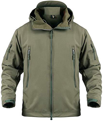 Memoryee Chaquetas de Softshell para Exteriores Impermeables para Hombres Abrigos tácticos Militares cálidos Camuflaje Abrigo/Verde/3XL