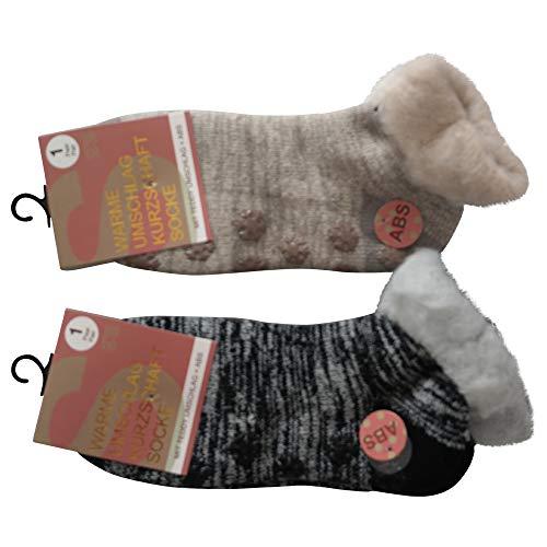 Lieblingsstrumpf24 2 Paar Damen Umschlag Teddy ABS Home Socken Noppensocken Kurzschaft (35-38, Schwarz + Beige)