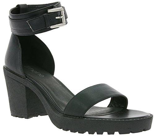 heine Buckle Schuhe Damen Sandaletten Absatz-Schuhe Schwarz 181254, Größenauswahl:39