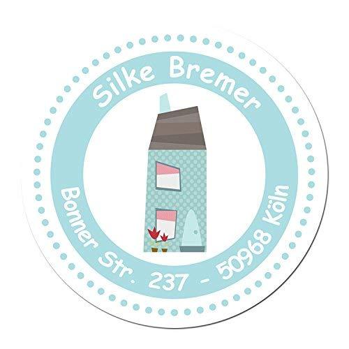 24 individuelle Aufkleber für Kinder - Motiv blaues Haus - personalisierte Sticker - Adresse Schule Einschulung