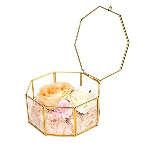 shajiahao Cajas para Joyas de Vidrio,Caja de Almacenamiento de joyería,Caja de Cristal de la Baratija de la Joyería, Organizador de Cristal Baratija Pendiente del Anillo Caja, 2.95 * 2.95 * 1.77'