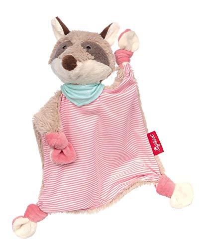 Sigikid Mädchen und Jungen, Schnuffeltuch Waschbär rosa, Babyspielzeug, empfohlen ab 0 Monaten, rosa/grau, 39194