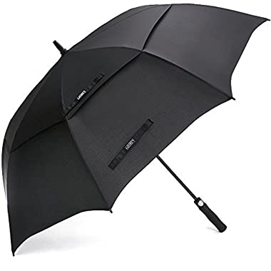 G4Free 68 Inch Automatic Open Golf Umbrella Double Canopy Extra Large Oversize Windproof Waterproof Stick Umbrellas(Black)