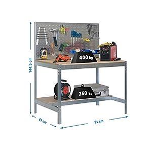 Simonrack 778100045159062 Banco de trabajo (1440 x 900 x 600 mm, 2 estantes y 1 panel perforado, 400 kg-250 kg) color galvanizado/madera