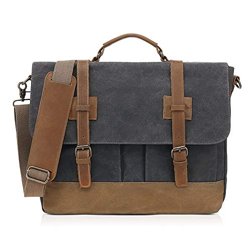 SUVOM Mens Messenger Bag 15.6 Inch Waterproof Waxed Canvas Briefcase Genuine Leather Briefcase Satchel Vintage Retro Shoulder Bag Computer Laptop Large Shoulder Bag (Black)