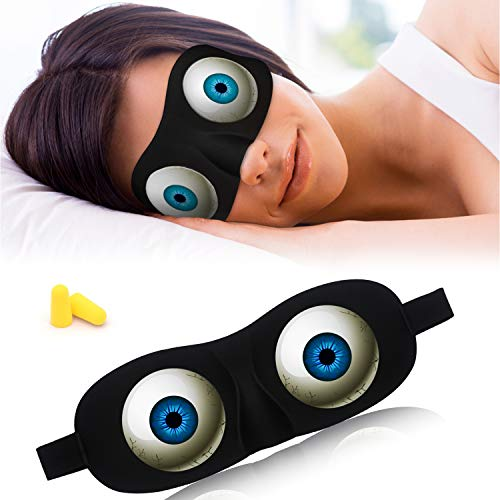 Tphon Eye Sleep Mask Funny Blindfold for Women Men Kid, Upgraded 3D Contoured 100% Blackout Sleeping Mask with Adjustable Strap, Soft Night Blindfold Eye Shades for Travel Naps Shift Works Games