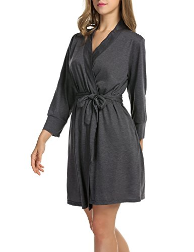 Hotouch Womens Robes Knee Length Lightweight Robe 3/4 Sleeves Cotton Bathrobe for Sleepwear Gray M
