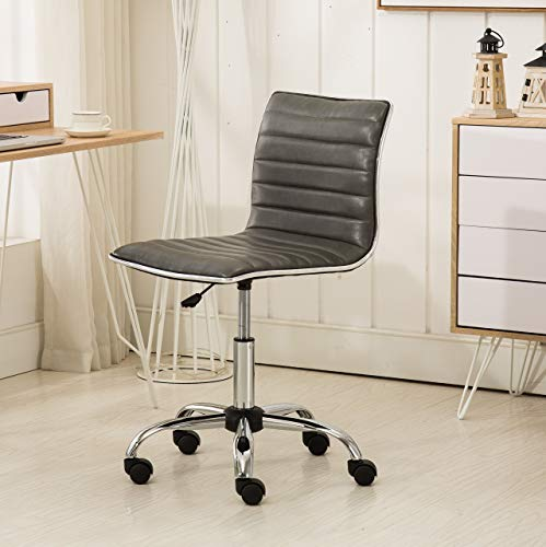 Roundhill Furniture Fremo Chromel Adjustable Air Lift Office Chair in Grey