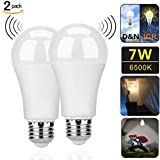 Motion Sensor Light Bulbs,7W (60-Watt Equivalent) E26 Motion Activated Dusk to Dawn Security Light Bulb Outdoor/Indoor for Front Door Porch Garage Basement Hallway Closet(Cold White 2 Pack)