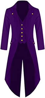 Runyue Men's Casual Steampunk Vintage Tailcoat Jacket Gothic Retro Victorian Coat Tuxedo Uniform Costume