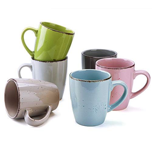 Coffee Mugs Set of 6, 12oz Porcelain Mugs for Coffee Tea Cocoa Ceramic Mugs for Home Kitchen (Mulit)