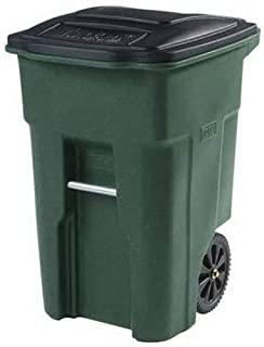 Toter 025548-R1GRS Residential Heavy Duty 2-Wheeled Trash Can with Attached Lid, 48-Gallon, Greenstone