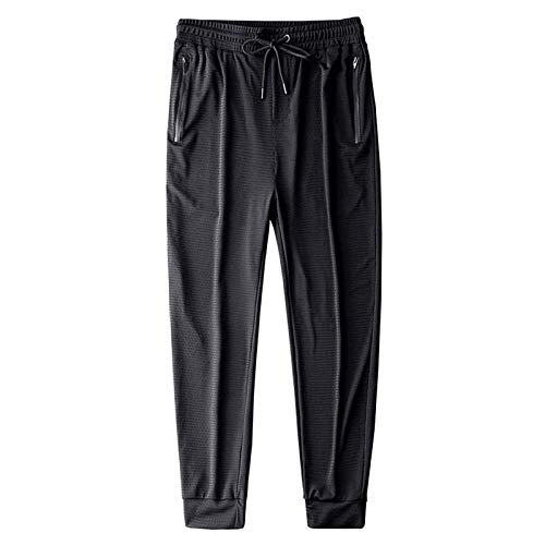 Ice Silk Fitness Running Stretch Yoga Pant, Summer Lightweight Breathable Casual Pants, Fitness Running Stretch Pant Men, Quick-Drying Mesh Loose-fit Trousers (Black, Tied Feet, XL)