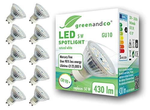 10x greenandco® CRI90+ 4000K 110° LED Spot neutralweiß ersetzt 50 Watt GU10 Halogenstrahler, 5W 430 Lumen SMD LED Strahler 230V AC Glas mit Schutzglas, flimmerfrei, nicht dimmbar, 2 Jahre Garantie
