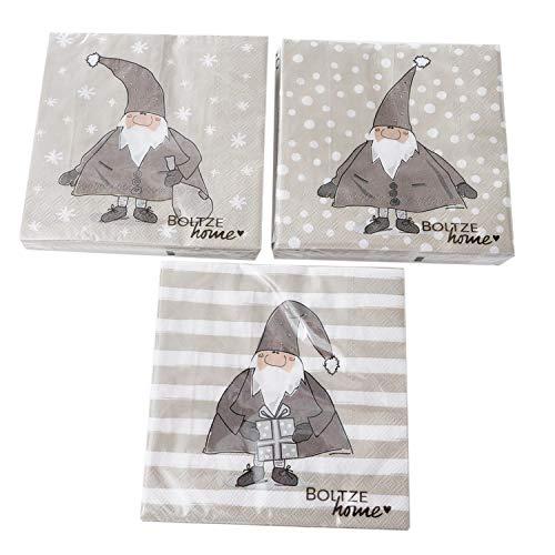 in due 3 x 20 Servietten Weihnachten Weihnachtsservietten 'Weihnachtsmann' Taupe - 33 x 33 cm